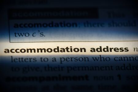 accommodation address word in a dictionary. accommodation address concept, definition.