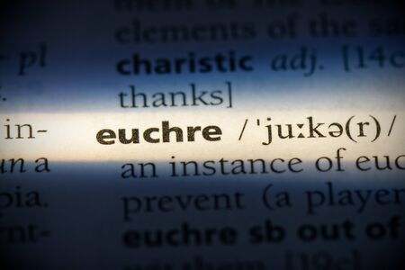 euchre word in a dictionary. euchre concept, definition.