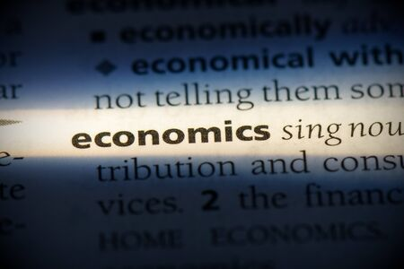economics word in a dictionary. economics concept, definition. Stock Photo