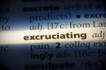 excruciating word in a dictionary. excruciating concept, definition.