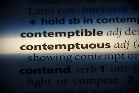 contemptous word in a dictionary. contemptous concept, definition.