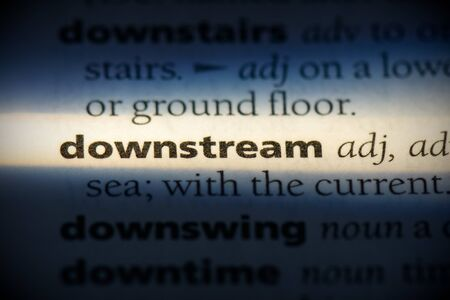 downstream word in a dictionary. downstream concept, definition. 写真素材