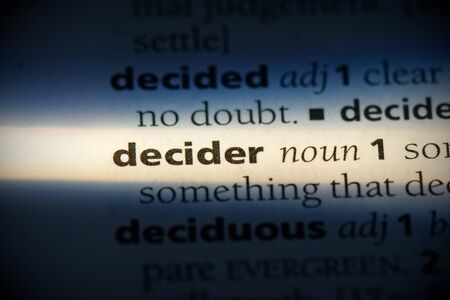 decider word in a dictionary. decider concept, definition. 写真素材