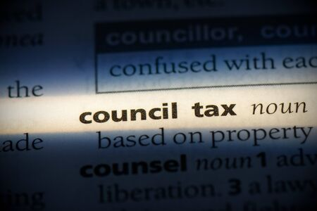 council tax word in a dictionary. council tax concept, definition.