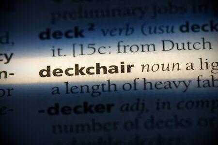 deckchair word in a dictionary. deckchair concept, definition.