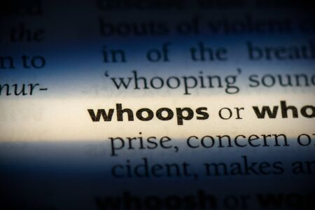 whoops word in a dictionary. whoops concept, definition. Stock Photo