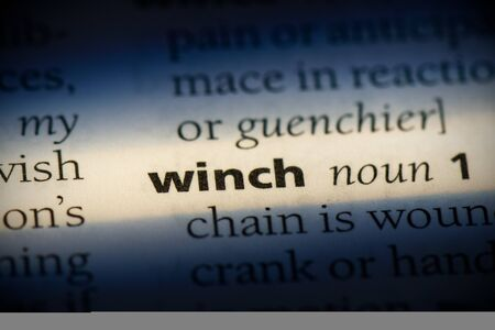 winch word in a dictionary. winch concept, definition. Stok Fotoğraf