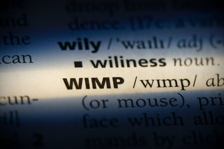 wimp word in a dictionary. wimp concept, definition.