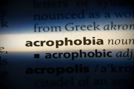 acrophobia word in a dictionary. acrophobia concept, definition. 写真素材
