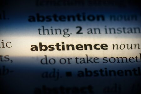 abstinence word in a dictionary. abstinence concept, definition.