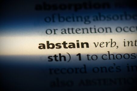 abstain word in a dictionary. abstain concept, definition. 写真素材