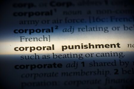 corporal punishment word in a dictionary. corporal punishment concept, definition.