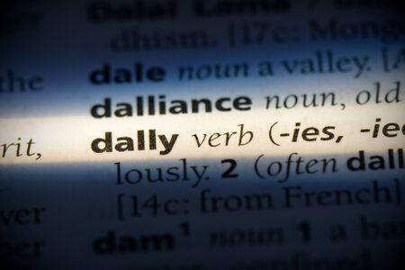 dally word in a dictionary. dally concept, definition. 写真素材 - 132116277