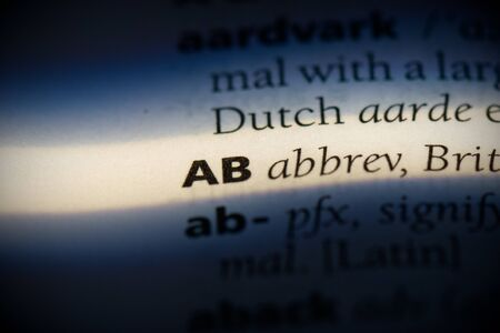 ab word in a dictionary. ab concept, definition.