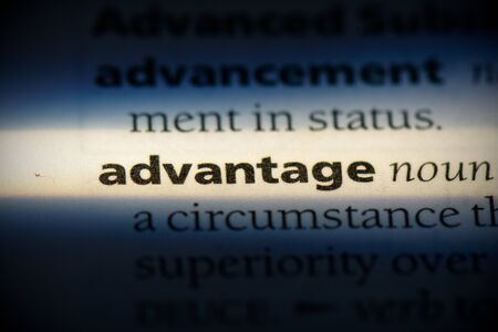 advantage word in a dictionary. advantage concept, definition. 写真素材