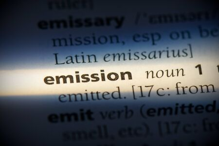 emission word in a dictionary. emission concept, definition. 写真素材 - 132117105