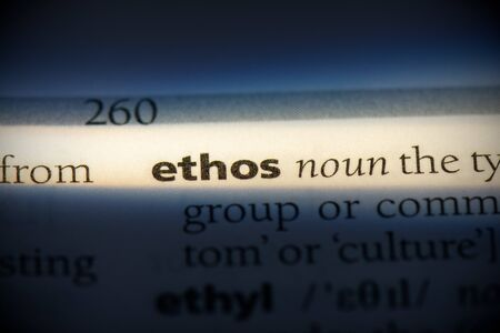 ethos word in a dictionary. ethos concept, definition. 写真素材 - 132117114