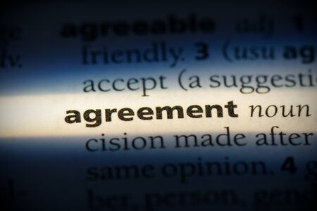 agreement word in a dictionary. agreement concept, definition.