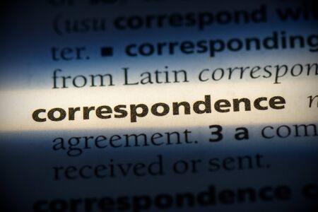 correspondence word in a dictionary. correspondence concept, definition. 写真素材 - 132117116