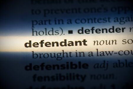 defendant word in a dictionary. defendant concept, definition. 写真素材 - 132117121