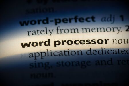 word processor word in a dictionary. word processor concept, definition.