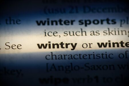 wintry word in a dictionary. wintry concept, definition. Stockfoto