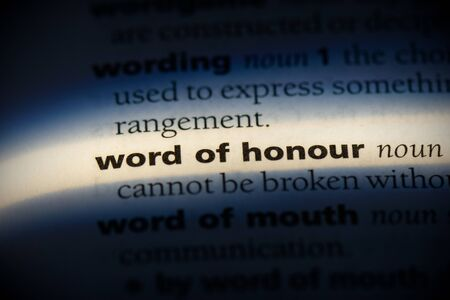 word of honour word in a dictionary. word of honour concept, definition. Banco de Imagens