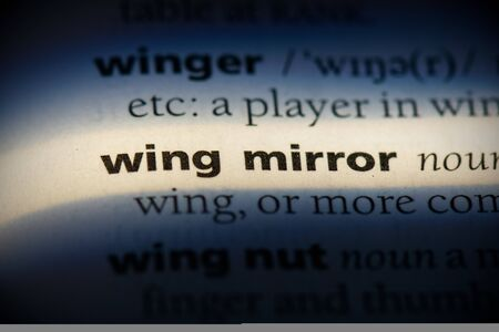 wing mirror word in a dictionary. wing mirror concept, definition. 写真素材