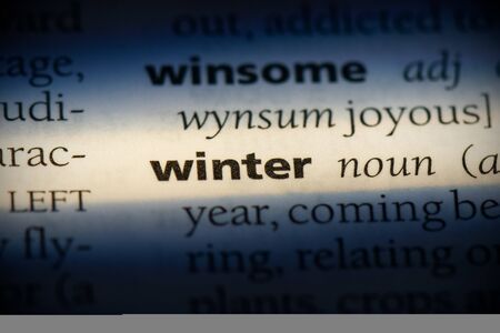 winter word in a dictionary. winter concept, definition. 写真素材 - 132117313