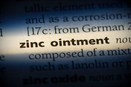 zinc ointment word in a dictionary. zinc ointment concept, definition.