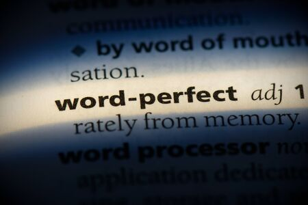 word-perfect word in a dictionary. word-perfect concept, definition. Stok Fotoğraf