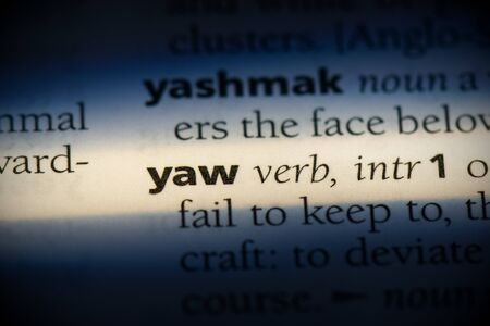 yaw word in a dictionary. yaw concept, definition. Stok Fotoğraf