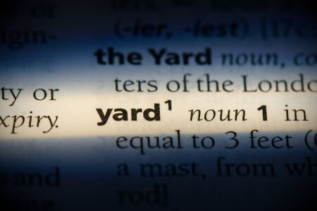 yard word in a dictionary. yard concept, definition.