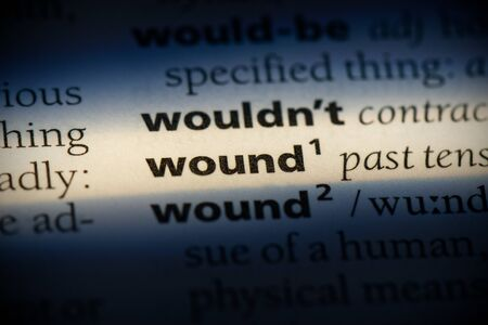 wound word in a dictionary. wound concept, definition.