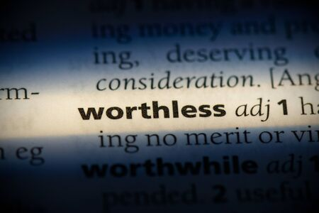 wothless word in a dictionary. wothless concept, definition.