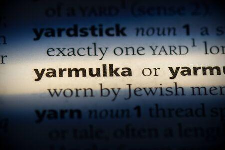 yarmulka word in a dictionary. yarmulka concept, definition. Stockfoto