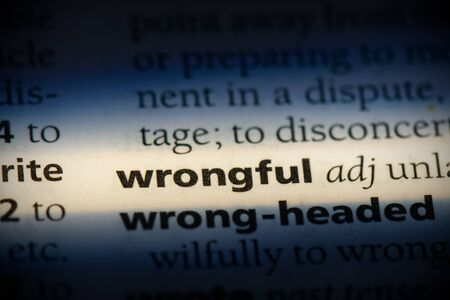 wrongful word in a dictionary. wrongful concept, definition.