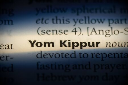 yom kippur word in a dictionary. yom kippur concept, definition.