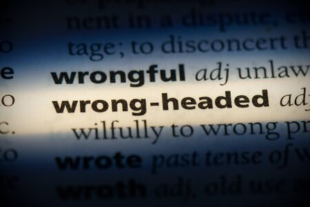 wrong-headed word in a dictionary. wrong-headed concept, definition.