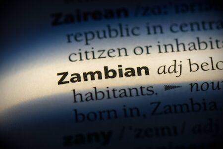 zambian word in a dictionary. zambian concept, definition. Stok Fotoğraf