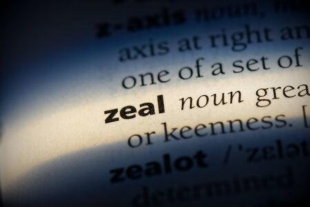zeal word in a dictionary. zeal concept, definition. Stok Fotoğraf