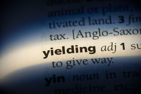 yielding word in a dictionary. yielding concept, definition.