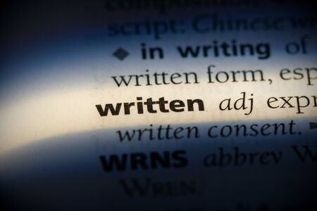 written word in a dictionary. written concept, definition.
