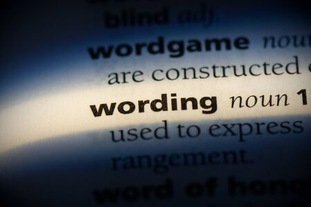 wording word in a dictionary. wording concept, definition.