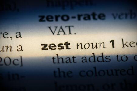 zest word in a dictionary. zest concept, definition.