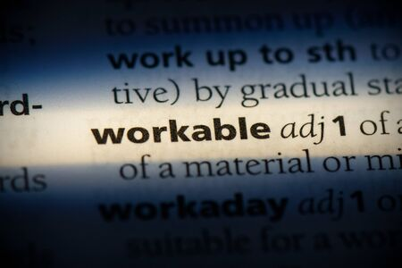 workable word in a dictionary. workable concept, definition.