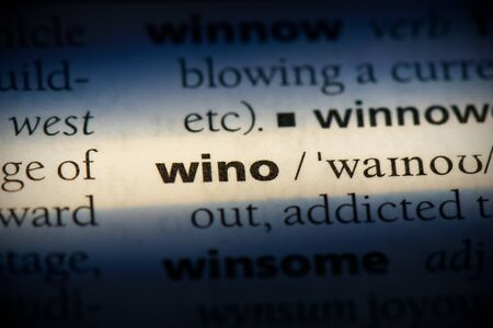 wino word in a dictionary. wino concept, definition.