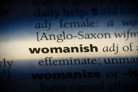 womanish word in a dictionary. womanish concept, definition.
