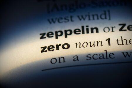 zero word in a dictionary. zero concept, definition. Stok Fotoğraf