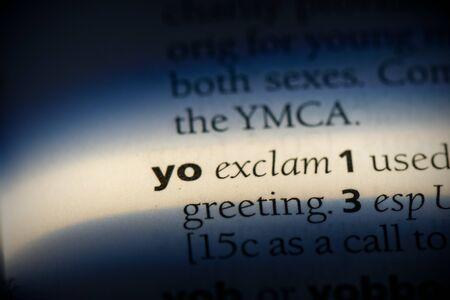yo word in a dictionary. yo concept, definition.